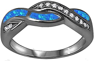 Twisted Crisscross Infinity Ring Lab Created Opal Round CZ 925 Sterling Silver Choose Color