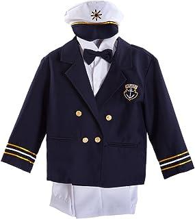 海軍ブルーBaby Boy Captain Sailorタキシードスーツホワイトパンツボウタイ&帽子セット