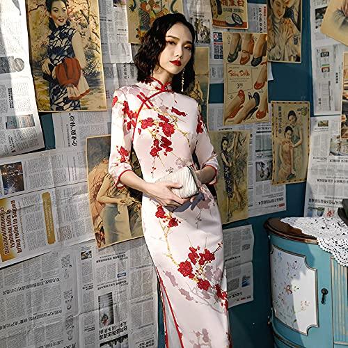 CIDCIJN Vestito Cinese - Rosa Rosso Qipao Prugna Cheongsam Banchetto Femminile Cheongsam Abito Plus Taglia Abiti Lunghi Cinesi Abiti Cinesi Sera Abiti Cinesi, XXL