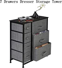 Dresser Organizer with 7 Drawers Easy Pull Fabric Bins Storage Tower for Dorm Room Dark Grey