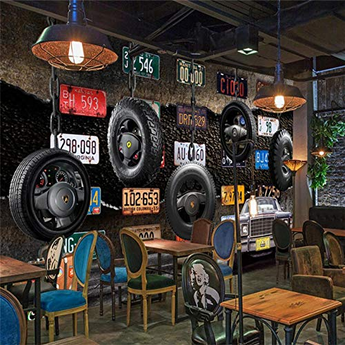 Retro Nummernschild Reifen Oldtimer Industrie Wind Wandbild Tapete 3D Restaurant Bar Ktv Hintergrund Wanddekor Tapete 3D-350Cmx245Cm