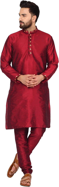 SKAVIJ Men's Tunic Art Silk Kurta Pajama Set Ethnic Indian Party Wear Dress Suit