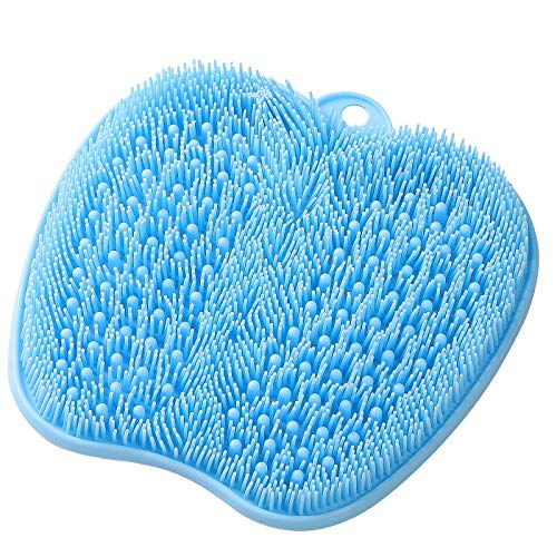 HONYIN Foot Scrubber for Use in Shower, Larger Shower Foot Scrubber Mat with Non-Slip Suction Cups- Cleans, Exfoliates & Massages Your Feet, Improve Circulation & Soothe Achy Feet - Blue