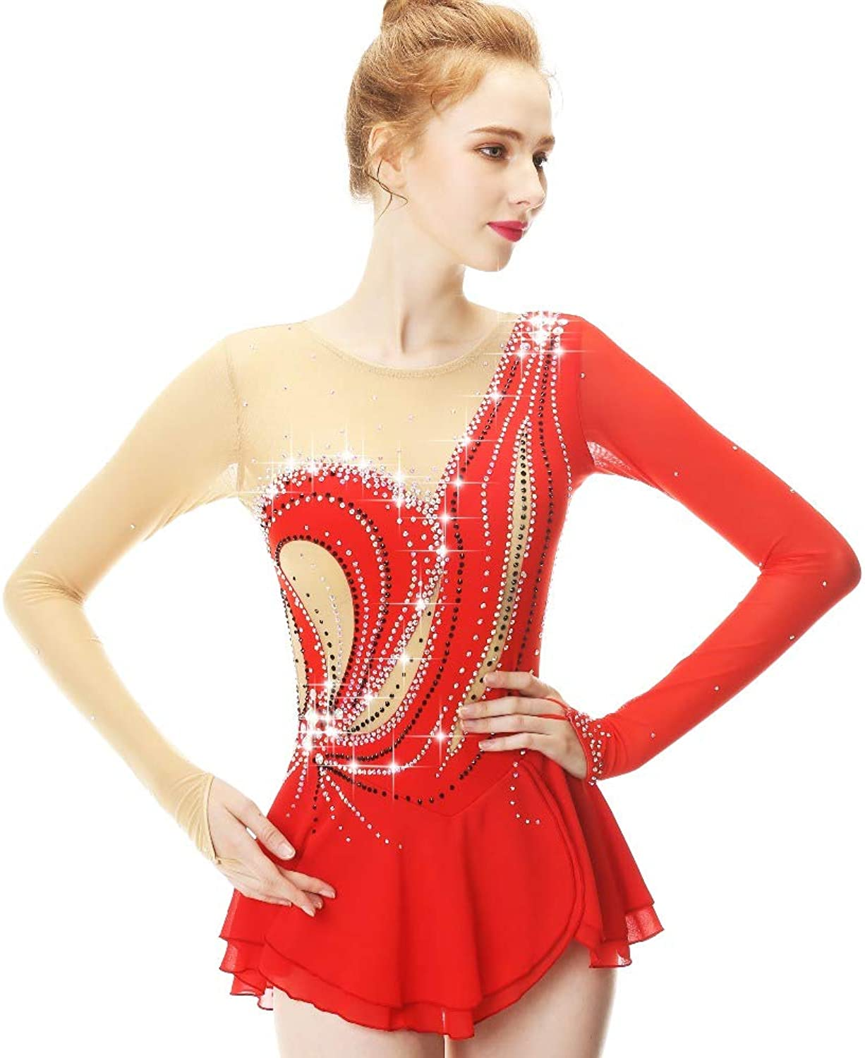 Handmade Ice Skating Dress for Girls and WomenFigure Skating Competition Costume Ice Dance Performance Show Leotards, Long Sleeved Crystals Tunic, Red