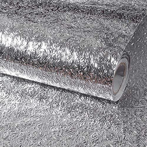 Fantasnight Aluminium Folie Aufkleber Küchen Selbstklebende Küchenfolie 40x300cm Wasserdicht Ölbeständige Fenster Aussehen der Orangenschale DIY Wohnkultur Tapeten Kein für Küchen