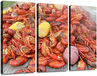 Huge Serving of Crawfish Boil with Vegetables Print On Canvas Wall Artwork Modern Photography Home Decor Unique Pattern Stretched and Framed 3 Piece