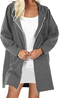 kenoce Women's Long Zip Up Hoodies Solid Color Casual Coat Tunic Sweatshirt Long Outwear Jacket with Pockets