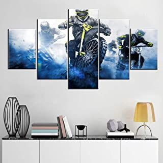 5 Piece Canvas Wall Art Supercross Championship Pictures for Living Room Motorcycle Grunge Paintings Contemporary Blue Artwork Rustic House Decor Framed Ready to Hang Posters and Prints(60''Wx32''H)