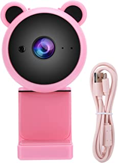 1080P Webcam, Webcam with Microphone, White/Pink Video Calling Live Streaming for PC Laptop Live Broadcast Video Recording...