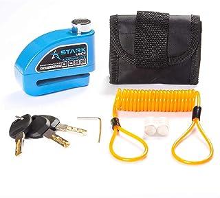 Kit Trava de Disco Preto c/Alarme Anti Furto Segurança Proteção Moto Bike com Bolsa e Cabo Lembrete