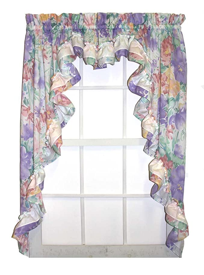 Nelly Country Style Ruffled Lilac Floral 3 Piece Swag Curtains Set 96-Inch-by-54-Inch - 1 1/2 Inch Rod Pocket