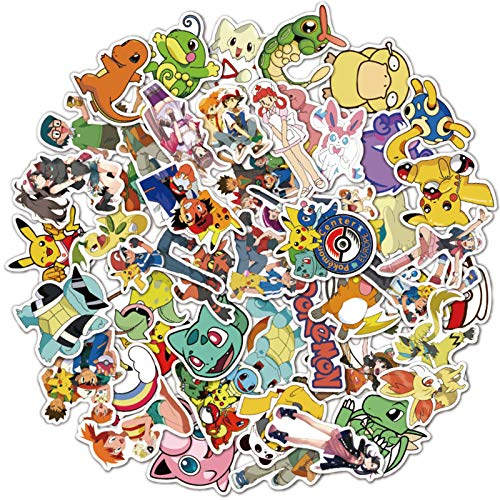 DSSJ 50 Pokemon Pokemon Maleta Impermeable Portátil Maleta Skateboard Personalidad Cartoon Stickers