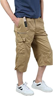 JYG Men's Twill Elastic Cargo Shorts Below Knee 3/4 Capri Pants with Belt
