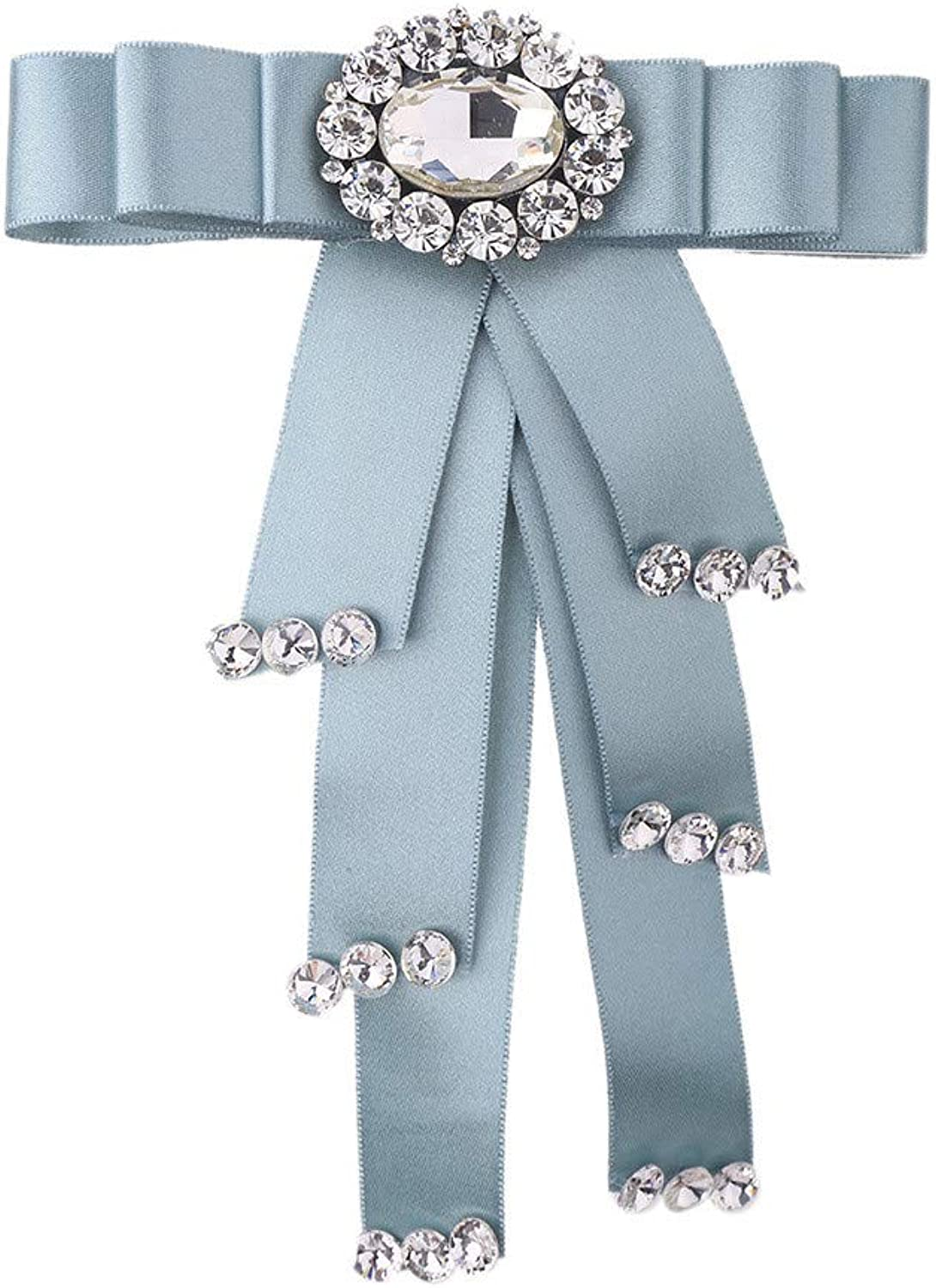 Women's Tie Crystal Rhinestone Bowknot Brooch Neck Bow Tie Collar Flower Pins Corsage (color   blueee)