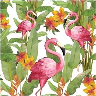 Ambiente servetten Lunch/Party/Feest Ca. 33 x 33 cm flamingo's wit - wit - ideaal als geschenk