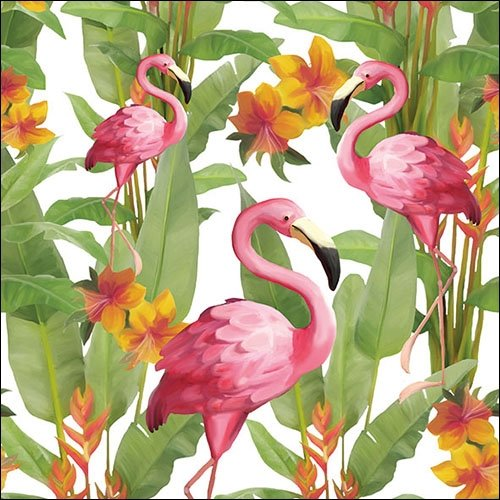Ambiente - Luxury Paper Products 20 Serviettes Blanches Flamingo 33 CM