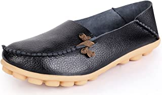 Women's Leather Loafers Breathable Slip on Driving Shoes Casual Comfort Walking Flat Shoes