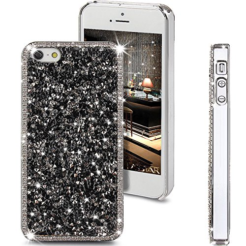 iPhone SE Case,iPhone 5S Case,iPhone 5 Case,Shiny Sparkle Bling Glitter Crystal [Rhinestone Diamond] Hard PC Plated Full Cover Protective Case for iPhone SE/iPhone 5S 5,Diamond: Black