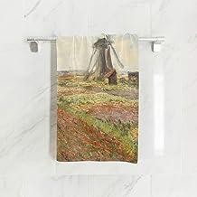 Ahomy Toallas de Mano, 38 cm x 76 cm, un Campo de Tulipanes en Holland Monet Art Toallas Multiusos Extra absorbentes para baño, Mano, Cara, Gimnasio y SPA
