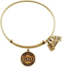 Wind and Fire Women's Yolo - You Only Live Once Charm Bangle Gold Plated