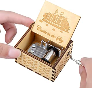 Imncya Wooden Music Boxes Carrying You, Hand Crank Antique Laser Engraved Vintage Musical Classic Gifts for Home Decoration,Crafts,Toys(Castle in The Sky)
