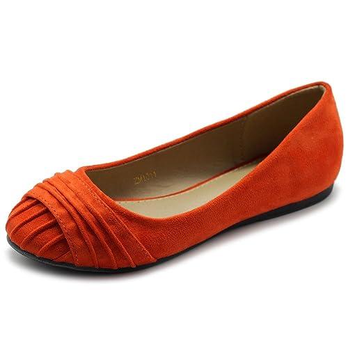 a2aea6debfa672 Ollio Women s Shoes Faux Suede Pleated Muliti Color Comforts Ballet Flat