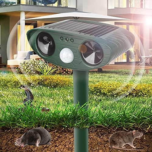 Vivibel Solar Katzenschreck Ultraschall, Solar Tiervertreiber, Wasserdichter Solarbetriebener, Ultrasonic Solar Maulwurfschreck, Marderabwehr, Tierabwehr, Mole Repeller für Vögel, Waschbären, Hunde