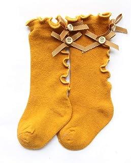 Beautine - Calcetines altos de algodón con lazo, rodilla para niña, princesa, para niña, orejas de madera, calcetín para bebés recién nacidos #6 Talla:S