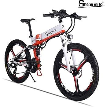 Shengmilo Bicicleta Eléctrica Plegable Freno XOD Shimano 21 Speed 26 Pulgadas Rueda Integrada Mountain Road Bicicleta Eléctrica Batería De Litio De 13AH Incluida (Blanco): Amazon.es: Deportes y aire libre