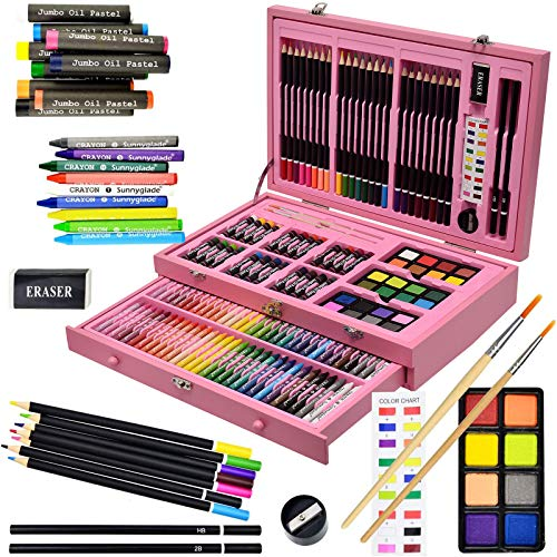 Sunnyglade 145 Piece Deluxe Art Set, Wooden Art Box & Drawing Kit with Crayons, Oil Pastels, Colored Pencils, Watercolor Cakes, Sketch Pencils, Paint Brush, Sharpener, Eraser, Color Chart (Pink)