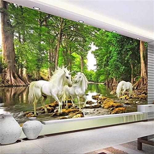 Fotobehang, foto, op maat gemaakte afmetingen, wanddoek, 3D-wit, horse, groen forest, wandfoto, behang, woonkamer, tv, sofa, achtergrond, wandbekleding, huisdecoratie 150 cm x 105 cm.