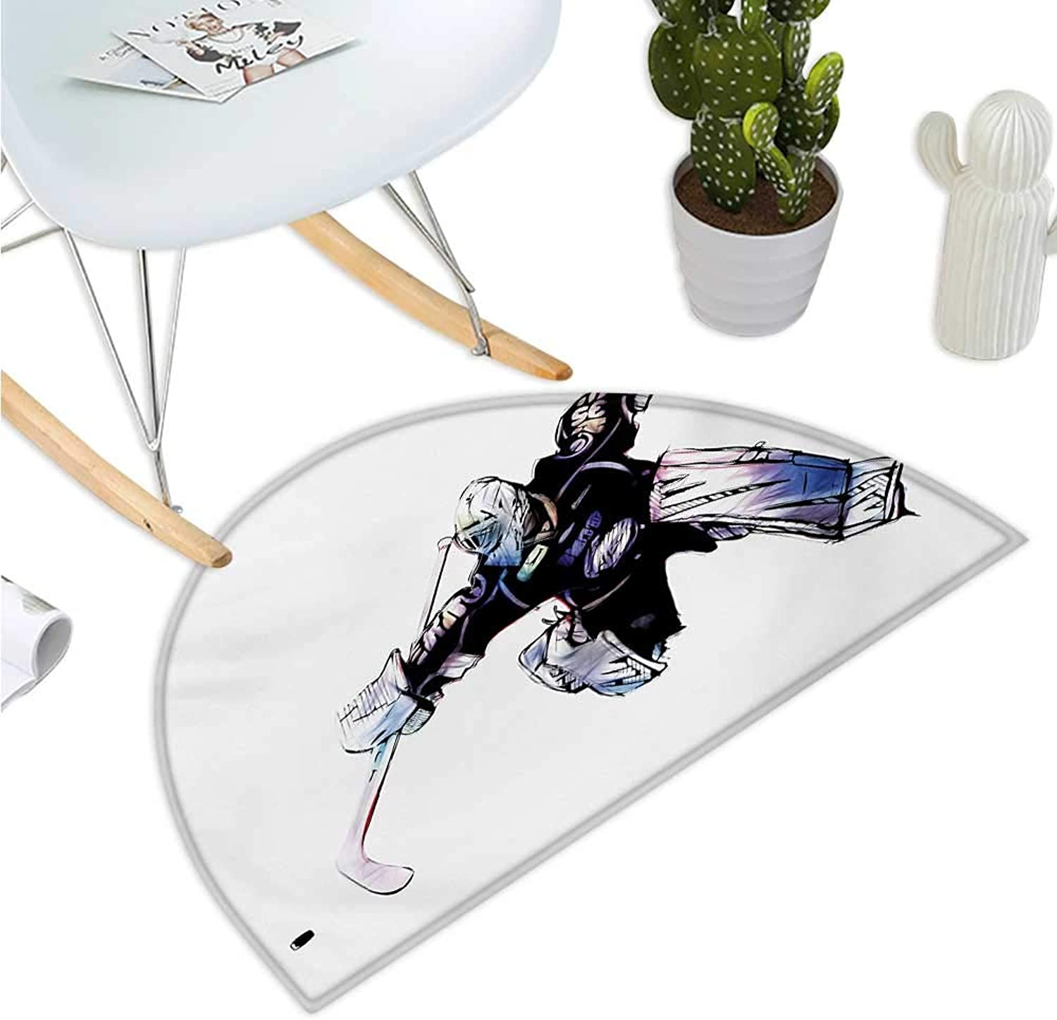 Hockey Semicircle Doormat Goalkeeper in Hand Drawn Style with Predective Gear in a Competitive Game Entry Door Mat H 43.3  xD 64.9  Purple Black White