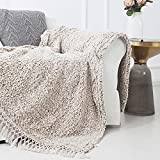 Sedona House Textured Throw Blanket Sharved Back Printing Sherpa Throw Blankets with Tassels (Light Tan)