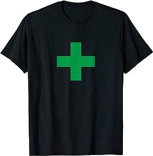 Green Medical Marijuana Cross Symbol - Cannabis Medicine T-Shirt