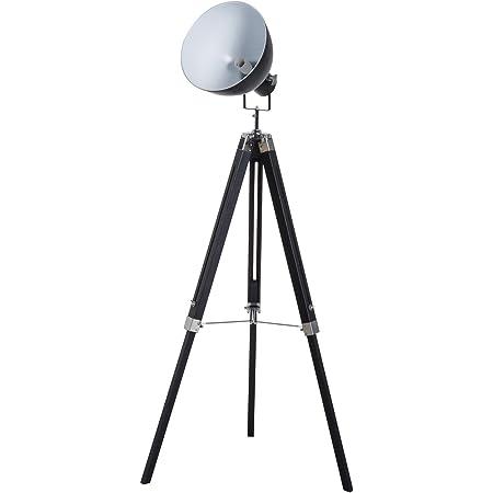 HOMCOM Lampadaire trépied Style Industriel Hauteur réglable Abat-Jour Ajustable E27 40W Max. 65 x 65 x 100-144 cm Bois métal Noir et Blanc