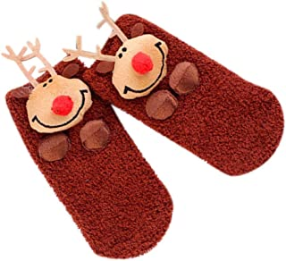 Guangcailun, Guangcailun Adultos Niños del Padre-descendiente Caliente de Navidad Calcetines Estilo de Dibujos Animados de poliéster Antideslizante estéreo Doll Piso Calcetines