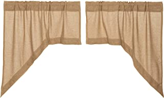 VHC Brands Classic Country Farmhouse Kitchen Window Curtains - Burlap Tan Swag Pair, Natural