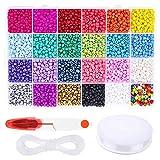 Pony Beads 7200 cuentas de cristal de 4 mm para pulsera de la amistad con tijeras y cuerda elástica