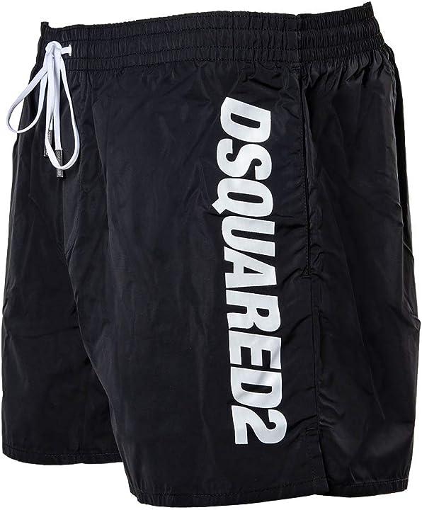 Costume da bagno per uomo dsquared2 - boxer midi, pantaloncini da bagno, logo, inserto in rete, unicolore D7B642920