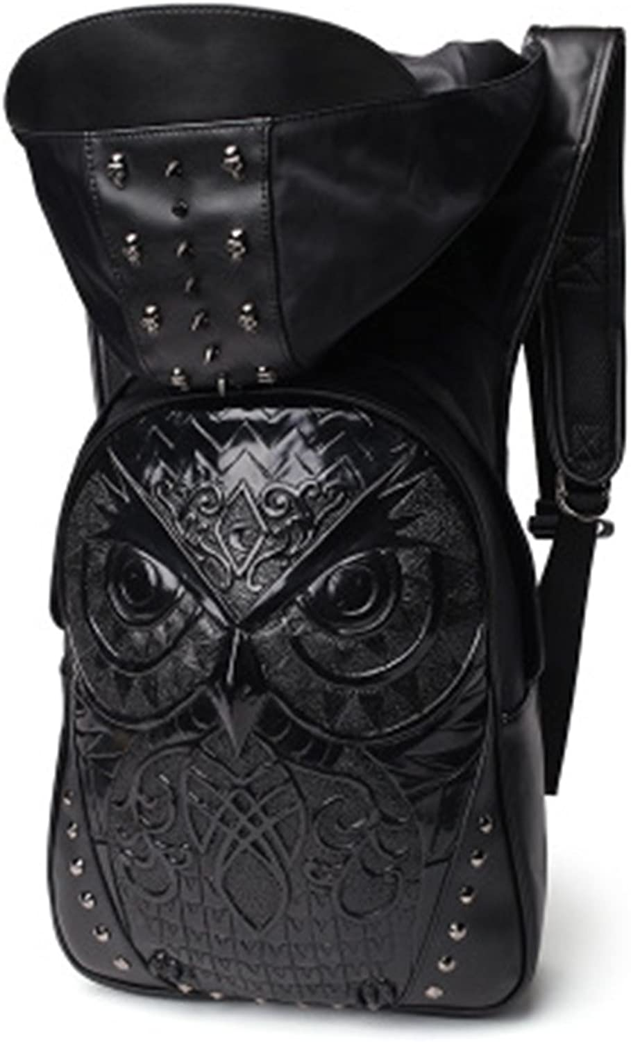 RYRYBH Unisex Backpack 3D Owl Computer Leather Backpack Leisure Outdoor Travel Bag Creative Hat PU Backpack Rivet Design Personality Bag backpack (color   Black, Size   Onesize)