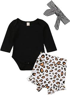 Newborn Infant Baby Girls Black Short/Long Sleeve Romper Top Leopard Print Ruffled Shorts Pants Headband 3Pcs Outfit