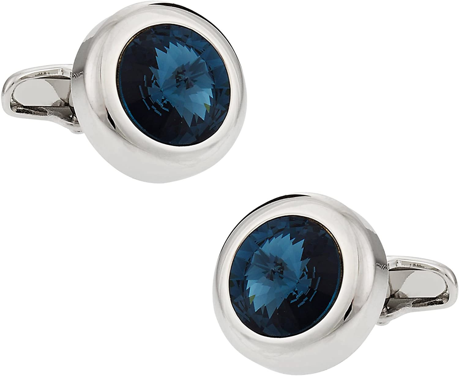 Crystal Solitaire Cufflinks in Montana Blue