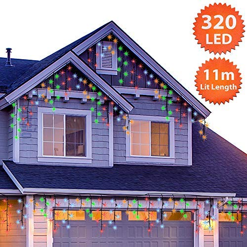 Eiszapfen Lichterkette Außen 320 LED 11m/36ft Lit Länge Mehrfarbig Baum Lichter Weihnachten Lichterketten Aussen Memory & Timer Funktionen, NetzBetriebene 10m Lead Wire - Grünes Kabel