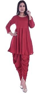 KASHISHIYA Women's Rayon SolidPlain Flared Red Kurta With Dhoti Pant Set