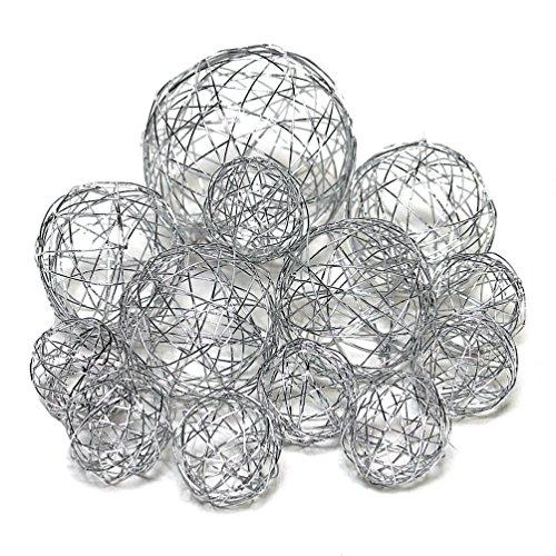 13 Drahtkugeln, Sortiment 3 Größen, Drahtbälle, Dekokugeln/TOP Preis (Silber)