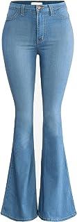 URBAN K Women's Classic High Waist Denim Bell Bottoms Jeans