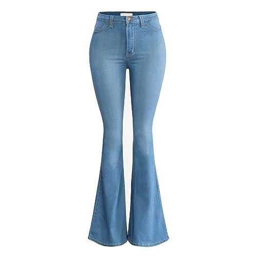 7a990c6a5 URBAN K Women's Classic High Waist Denim Bell Bottoms Jeans