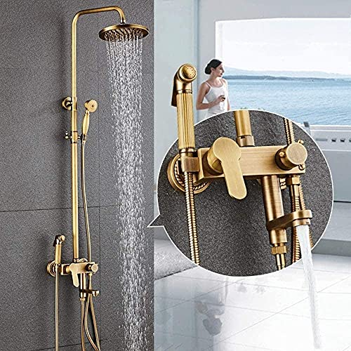 Vintage latón metal ducha sistema ducha mano 4 función Bidé baño caliente y fría grifo grifo bronce redondo top spray agradable práctico