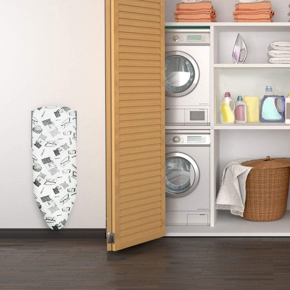 Duwee 14x38 Wall Mounted and Door Mounted Ironing Board with Heat Resistant Cover and Thicken Felt Padding,with Unique Supporting Arm and Automatic Locking System