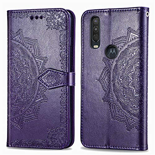 COTDINFORCA Moto One Action Case Leather Wallet Flip Magnetic Closure Case Moto P40 Power Phone Case with Card Slots Protective Cover Case for Motorola Moto One Action / P40 Power. SD Mandala - Purple